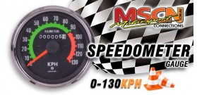 Speedometer - 0-130KPH - Chrome Bezel