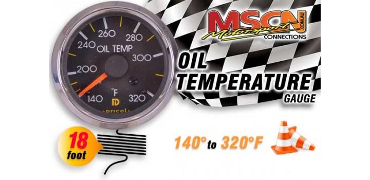 Oil Temp Gauge - 140° to 320° - Silver Face - 18 Foot Capillary