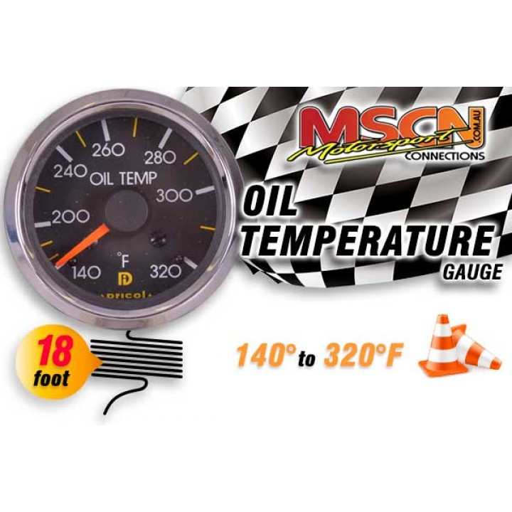 Oil Temp Gauge - 140° to 320° - Silver Face - 18 Foot Capillary