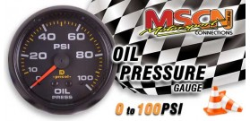 Oil Pressure Gauge - 0-100 PSI - Black Face