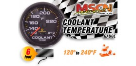 Coolant Temp Gauge - 120° to 240° - Black Face - 6 Foot Capillary