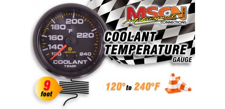 Coolant Temp Gauge - 120° to 240° - Black Face - 9 Foot Capillary