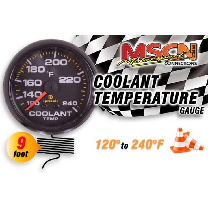 Coolant Temp Gauge - 120° to 240° - Black Face - 9 Foot Capillary