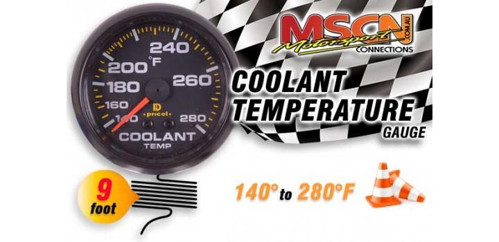Coolant Temp Gauge - 140° to 280° - Black Face - 9 Foot Capillary