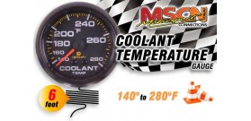 Coolant Temp Gauge - 140° to 280° - Black Face - 6 Foot Capillary