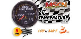Oil Temp Gauge - 140° to 340° - Black Face - 6 Foot Capillary