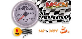 Oil Temp Gauge - 140° to 340° - Silver Face - 6 Foot Capillary