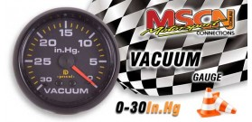 Vacuum Gauge - 0-30 In.Hg - Black Face