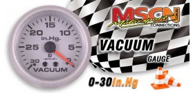 Vacuum Gauge - 0-30 In.Hg - Silver Face