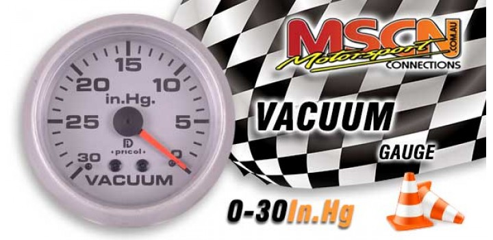 Vacuum Gauge - 0-30 In.Hg - Silver Face