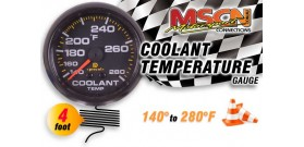 Coolant Temp Gauge - 140° to 280° - Black Face - 4 Foot Capillary