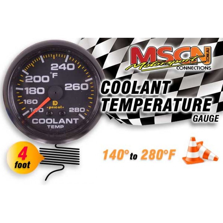 Coolant Temp Gauge - 140° to 280° - Black Face - 4 Foot Capillary