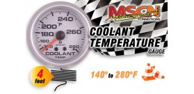 Coolant Temp Gauge - 140° to 280° - Silver Face - 4 Foot Capillary