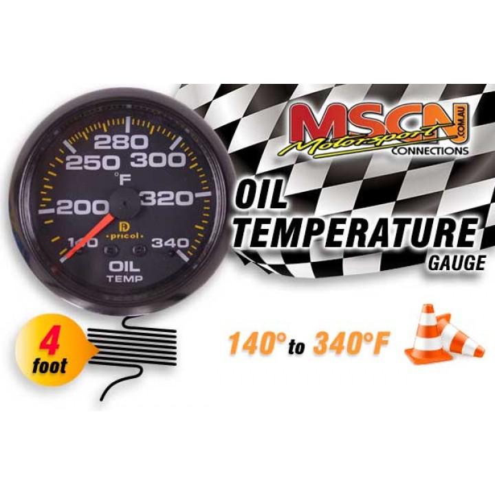 Oil Temp Gauge - 140° to 340° - Black Face - 4 Foot Capillary
