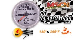 Oil Temp Gauge - 140° to 340° - Silver Face - 4 Foot Capillary