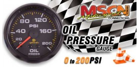 Oil Pressure Gauge - 0-200 PSI - Black Face