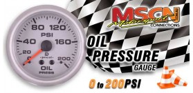 Oil Pressure Gauge - 0-200 PSI - Silver Face