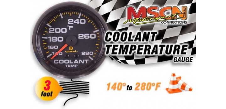 Coolant Temp Gauge - 140° to 280° - Black Face - 3 Foot Capillary