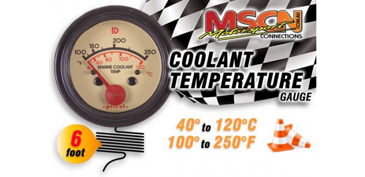 Coolant Temp Gauge - 40° to 120° - Black Face - 6 Foot Capillary