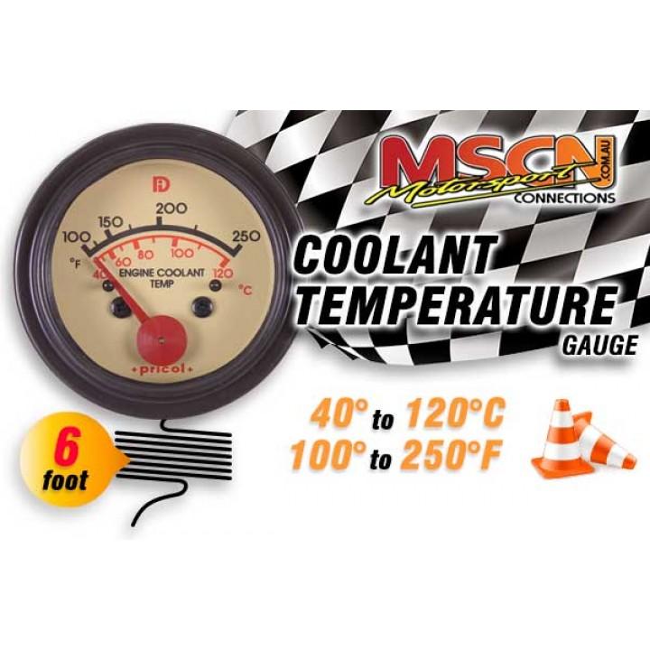 Coolant Temp Gauge - 40° to 120° - Black Face - 6 Foot Capillary