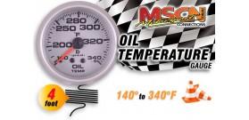 Oil Temp Gauge - 140° to 340° - Silver Face - 4 Foot Capillary